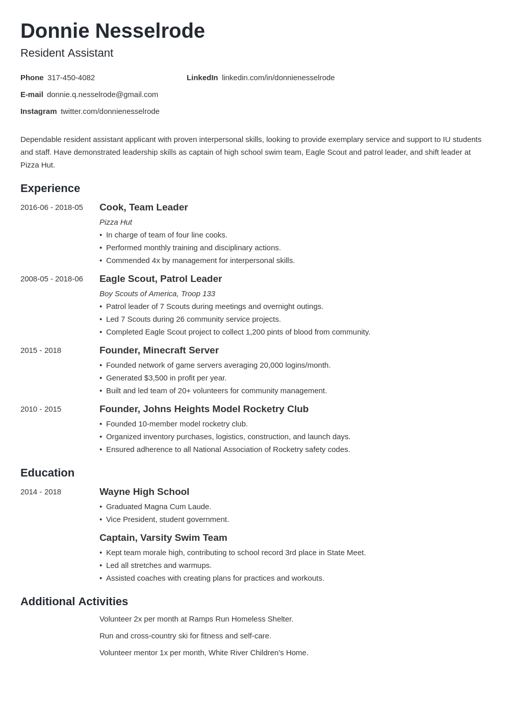 Resident Assistant Resume Example Template Minimo Resume Examples Best Resume Format Resident Assistant