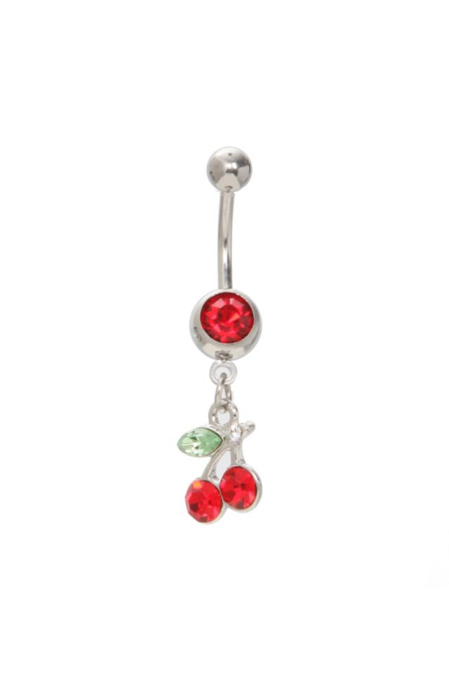 Navel+barbell+with+a+cherry+drop+and+red+gem+accented+beads.