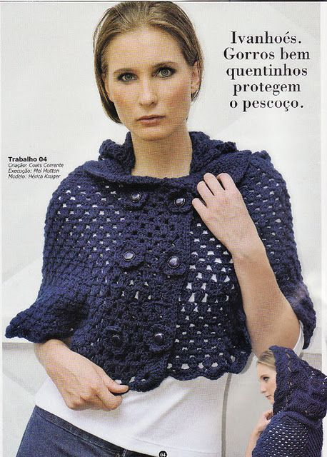 coprispalle con cappuccio | Häkeln: Cape, Pelerine, Umhang / Crochet ...
