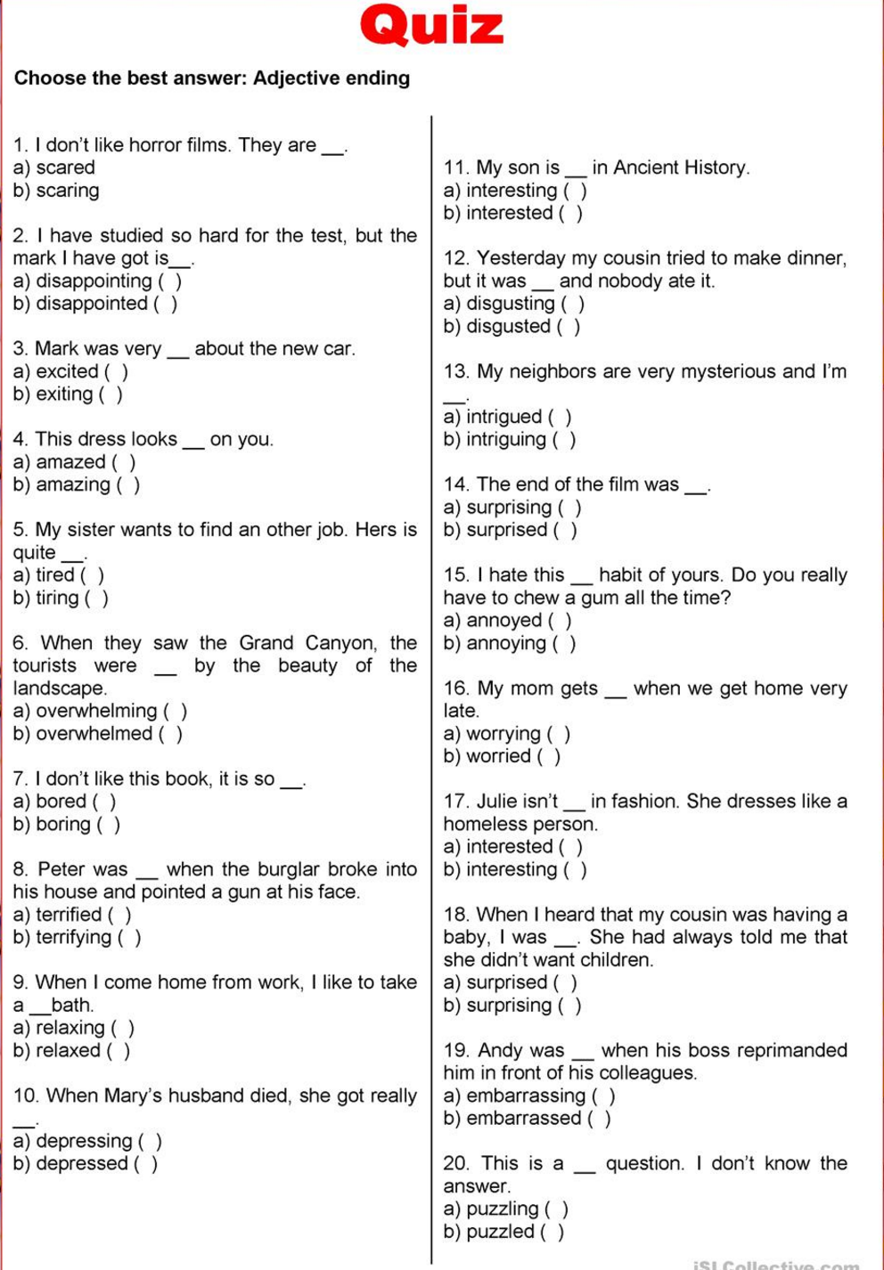 ed or ing adjectives exercises pdf