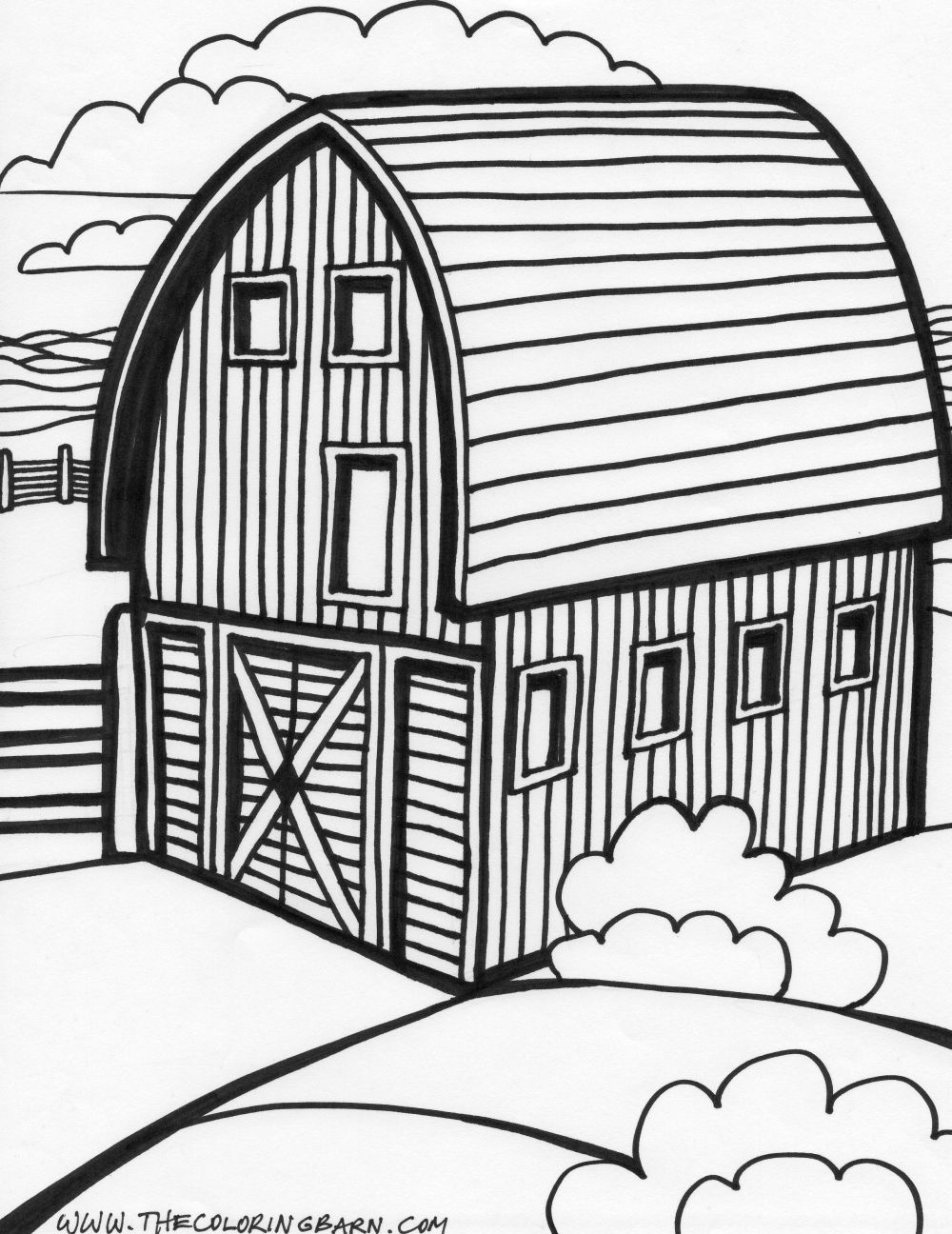 Black and White Cartoon Barn | and stock-photo ...