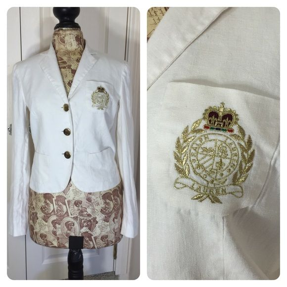 Ralph Lauren white linen blazer Classic white linen blazer by Ralph Lauren. Embroidered logo on bust and embossed buttons on front and cuffs. Few cuff buttons show wear. Blazer is lined - could use a pressing. Price discounted. Ralph Lauren Jackets & Coats Blazers