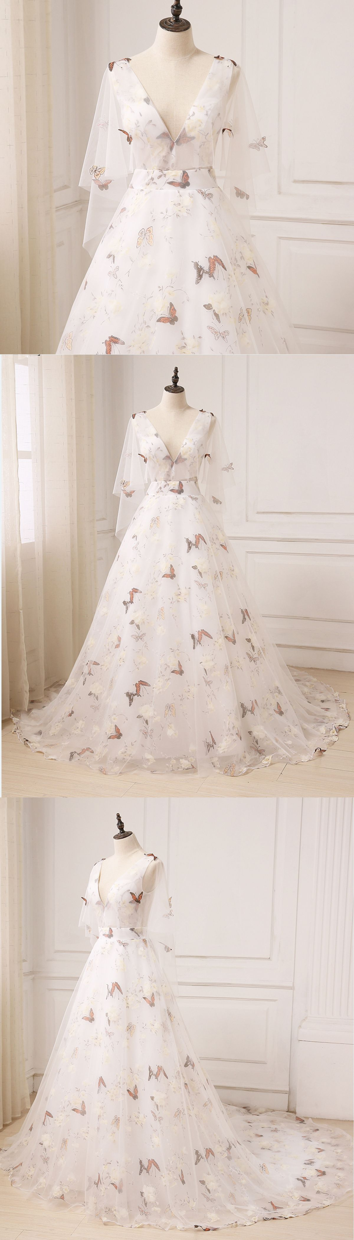 Flower print wedding gown  Unique ivory floral print tulle long V neck sweet  prom dress with