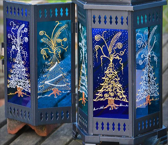 Christmas Candle Lantern / Gold + Silver Christmas Trees on Blue
