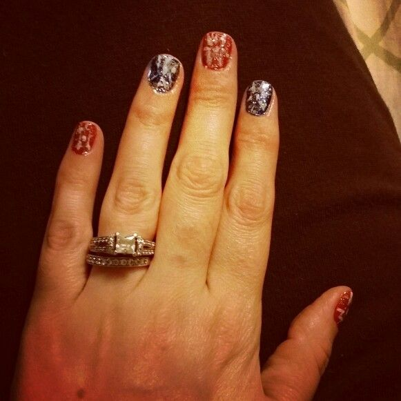 Red and blue with white and glitter 4th of July