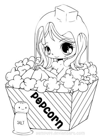 Chibi Popcorn Girl Coloring Page From Anime Girls Category Select 26267 Printable Crafts Of Cartoons Nature Animals Bible And Many More
