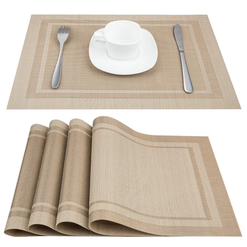 Amazon Com Artand Placemats Heat Resistant Placemats Stain Resistant Anti Skid Washable Pvc Table Mats Woven Vinyl Place Placemats Table Mats Stain Resistant