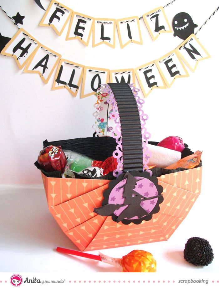 Decoraci n para halloween cestas hechas con papel - Manualidades para decorar halloween ...