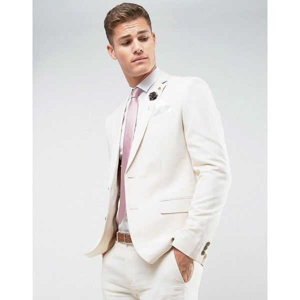 Farah Skinny Wedding Suit Jacket In Linen (4.630 RUB) ❤ liked on ...