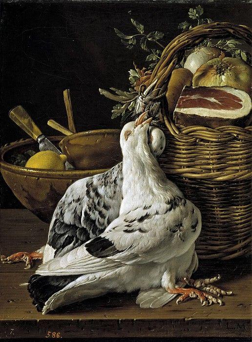 Мелендес, Луис Эгидио -- Натюрморт с двумя голубями и корзиной со снедью. Часть 3 Музей Прадо