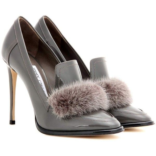 c83dd4dea73 Jimmy Choo Lyza 110 Fur-Trimmed Patent Leather Pumps (11 525 ZAR) ❤ liked  on Polyvore featuring shoes