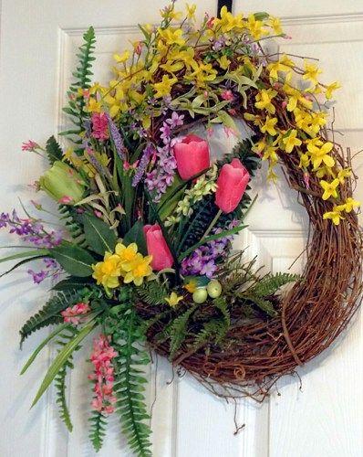 Photo of Spring Grapevine Wreath, Spring Summer Wreath, Tulip Wreath, Pink