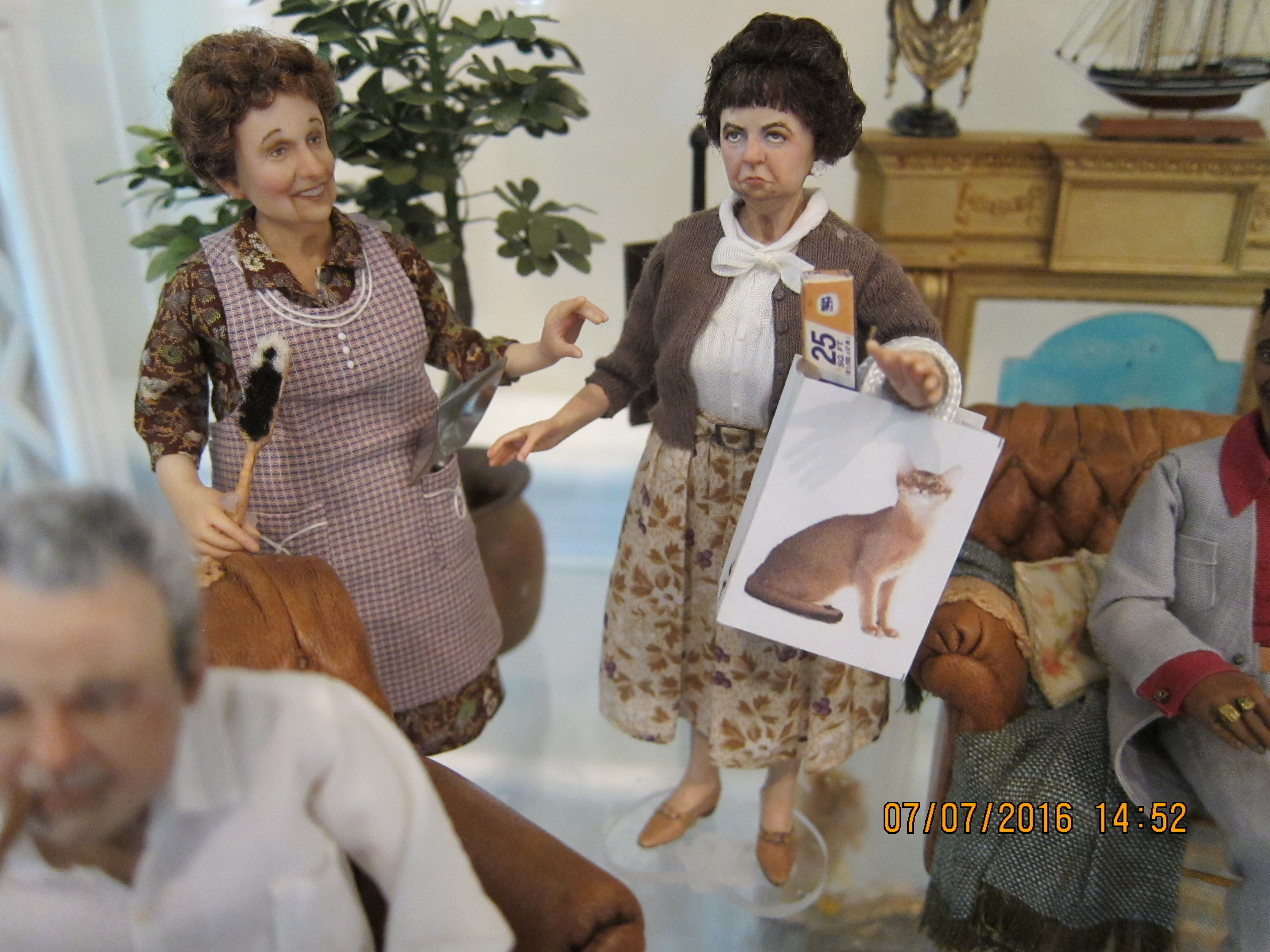My latest-Gladys Kravitz from Bewitched meets Edith Bunker! Louise Glass. I gave Gladys a shopping bag to hold her tinfoil. Louise Glass