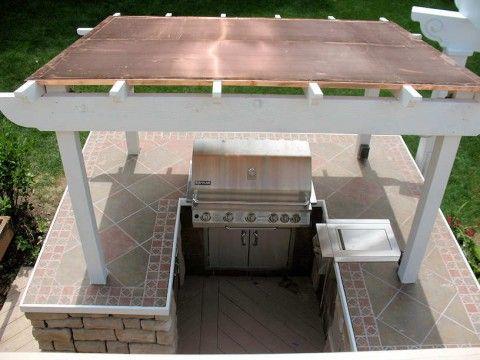 Copper Roof Pergola Outdoor Kitchen Design Backyard Bar Pergola Patio
