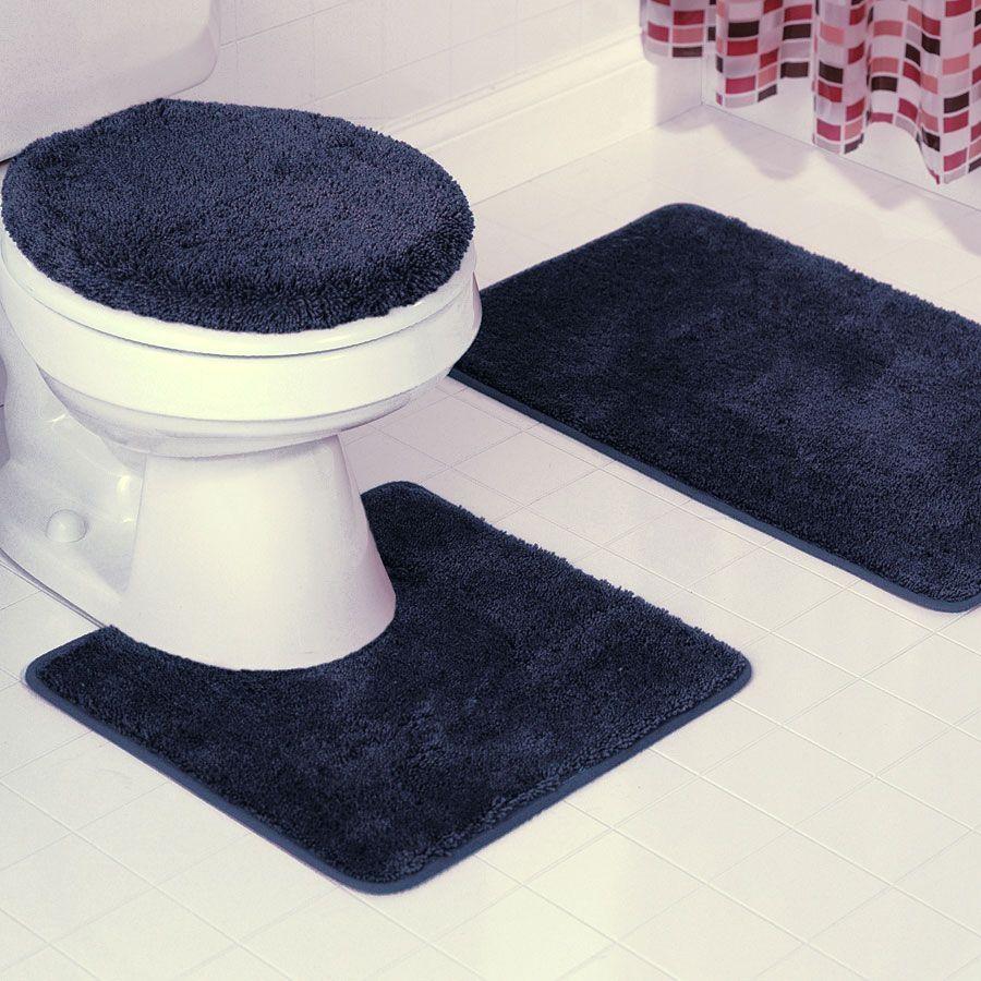 Navy Blue Bathroom Rug Set