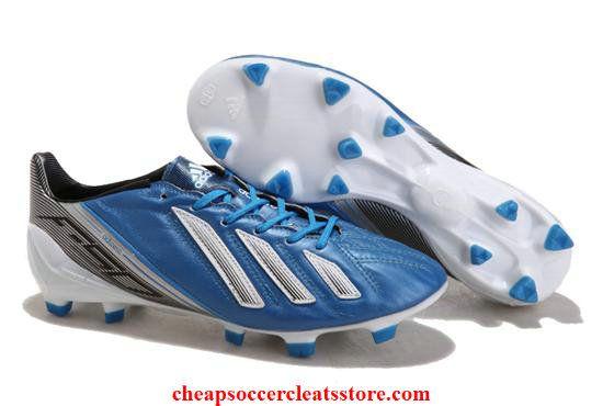 on sale d9b94 9c680 Adidas F50 adizero TRX FG Leather Blue Black White Cheap Soccer Cleats