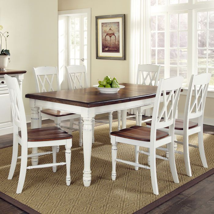 7 Piece Monarch Dining Set. I Like The White And Dark Wood Mix.