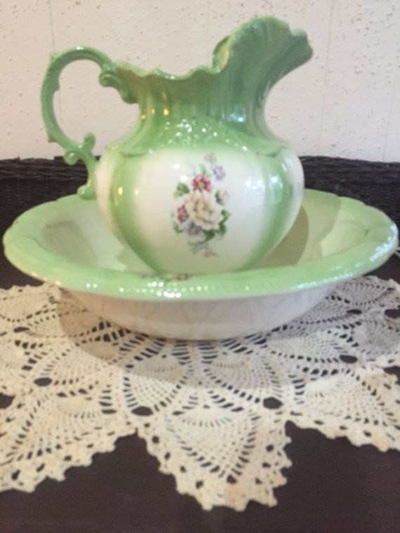 Vintage Pitcher And Basin Bowl Green