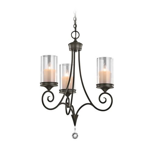 Kichler Lighting Kichler Mini-Chandelier with Clear Glass in Shadow Bronze Finish | 42860SWZ | Destination Lighting Waverly House