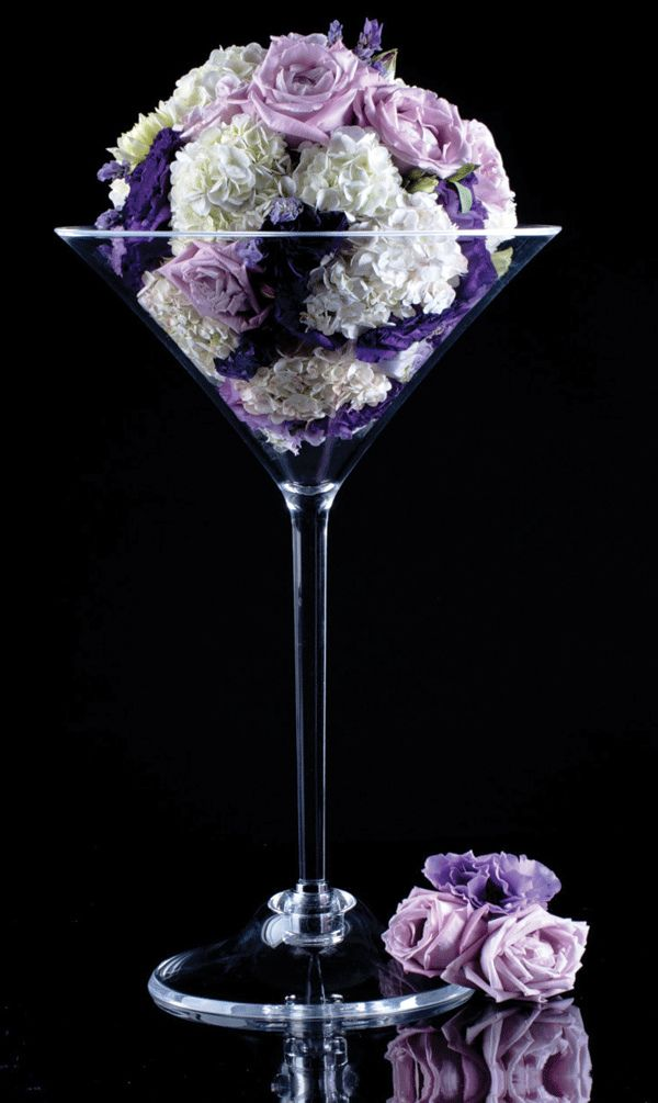Flowers in a martini glass flower