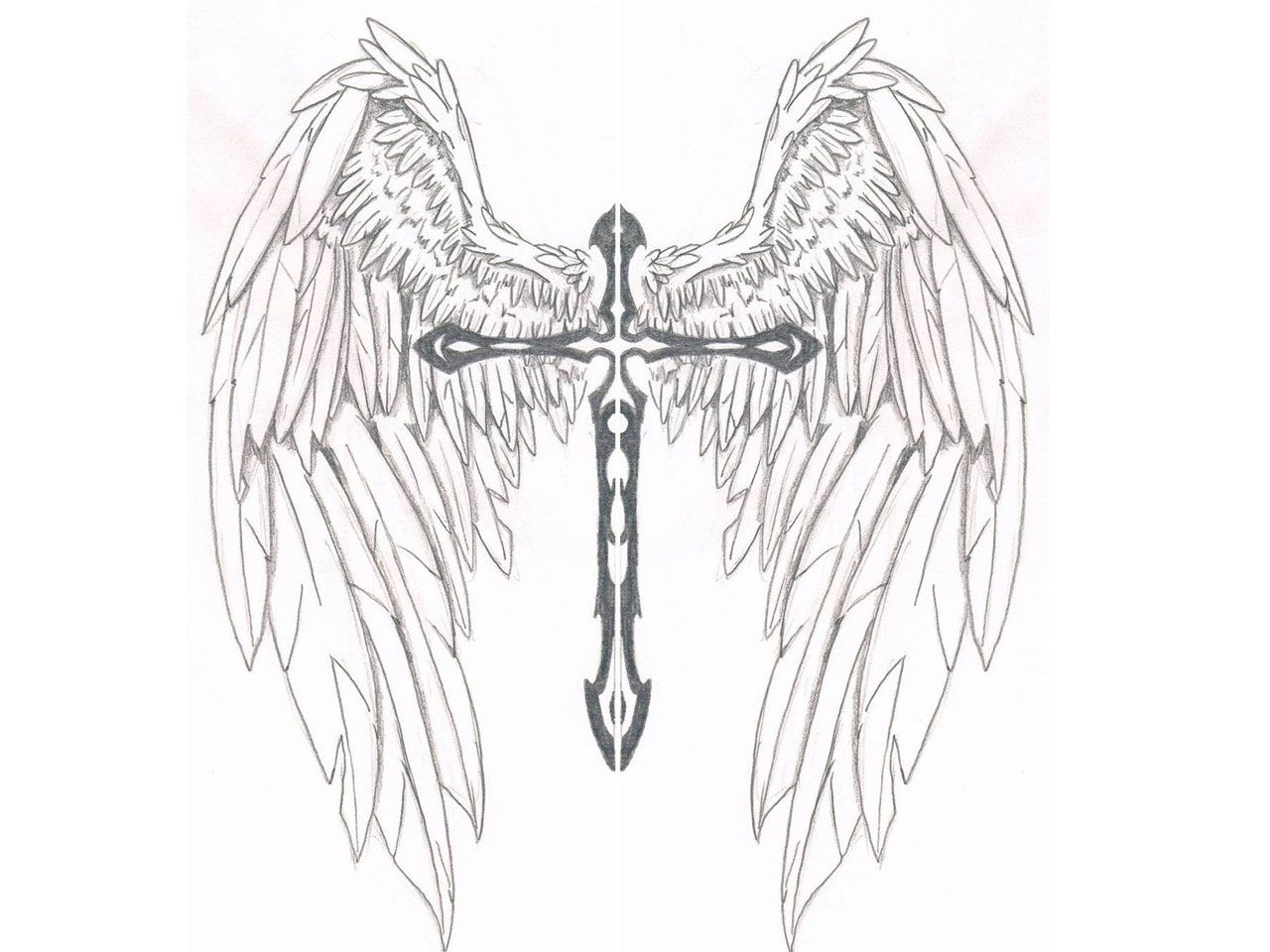 Cross With Angel Wings Tattoo: Pin On Crosses