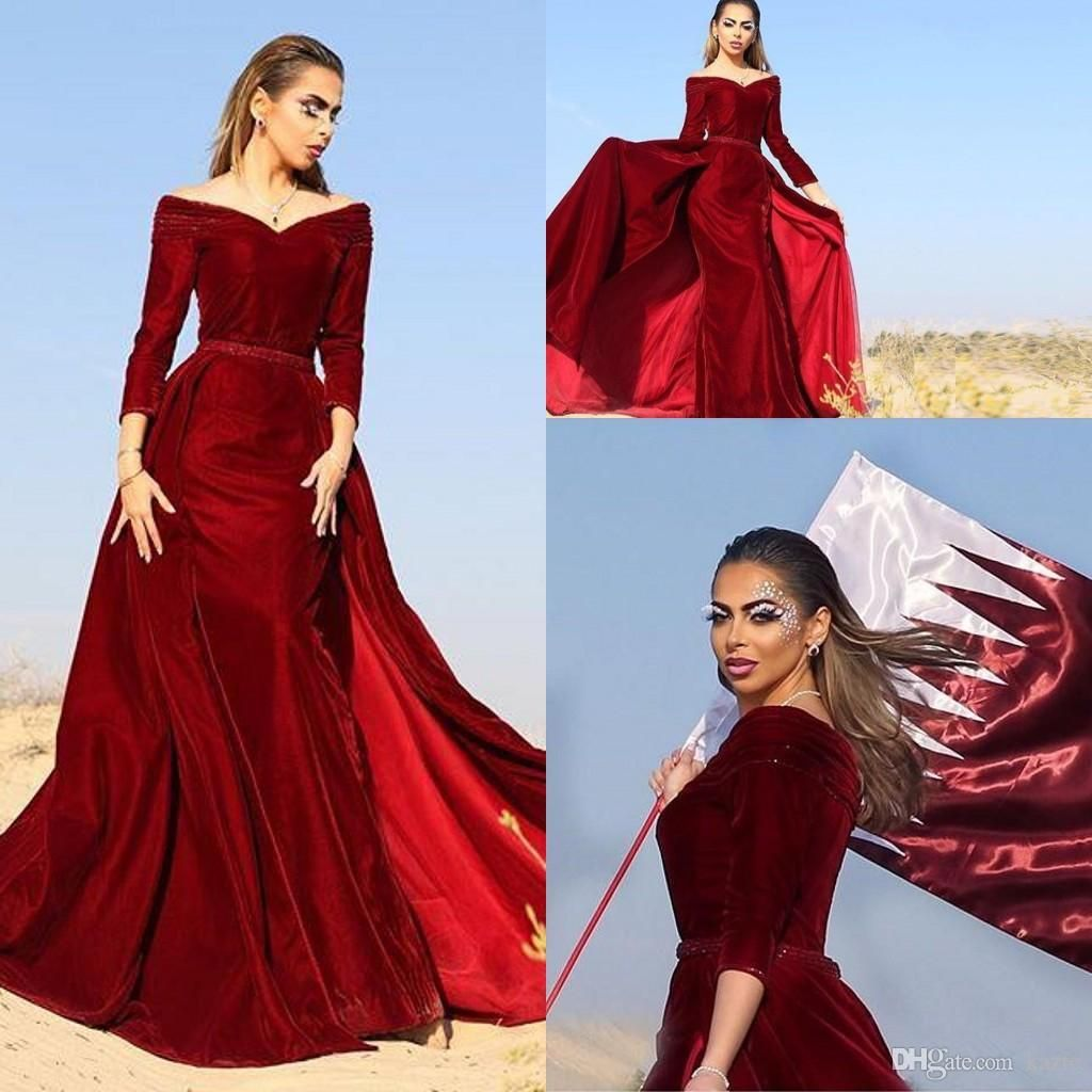 Off Shoulder Mermaid Evening Dresses 2017 Fall V Neck Long Sleeves Velvet  Dark Red Plus Size Saudi Arabic Prom Dress Dubai Vestidos Mermaid Wedding  Dress ... b677be55ac49