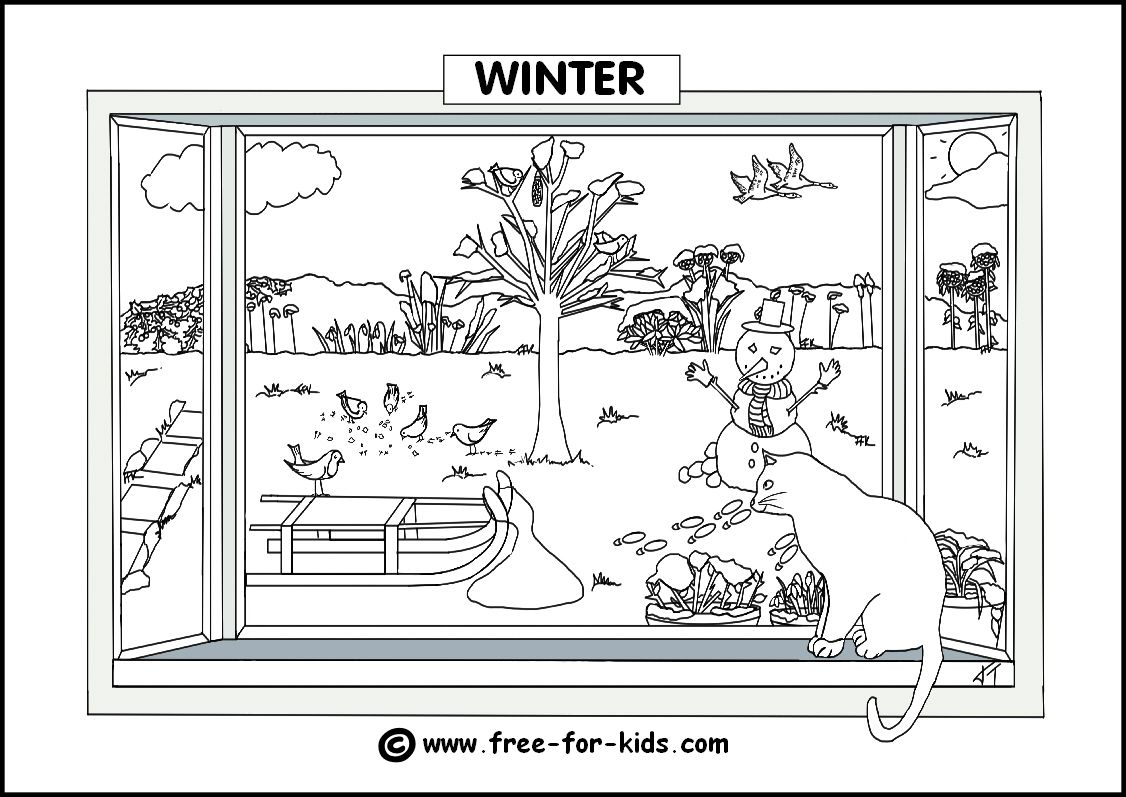 Seasons Colouring Pages  Winter scenery pictures, Coloring pages