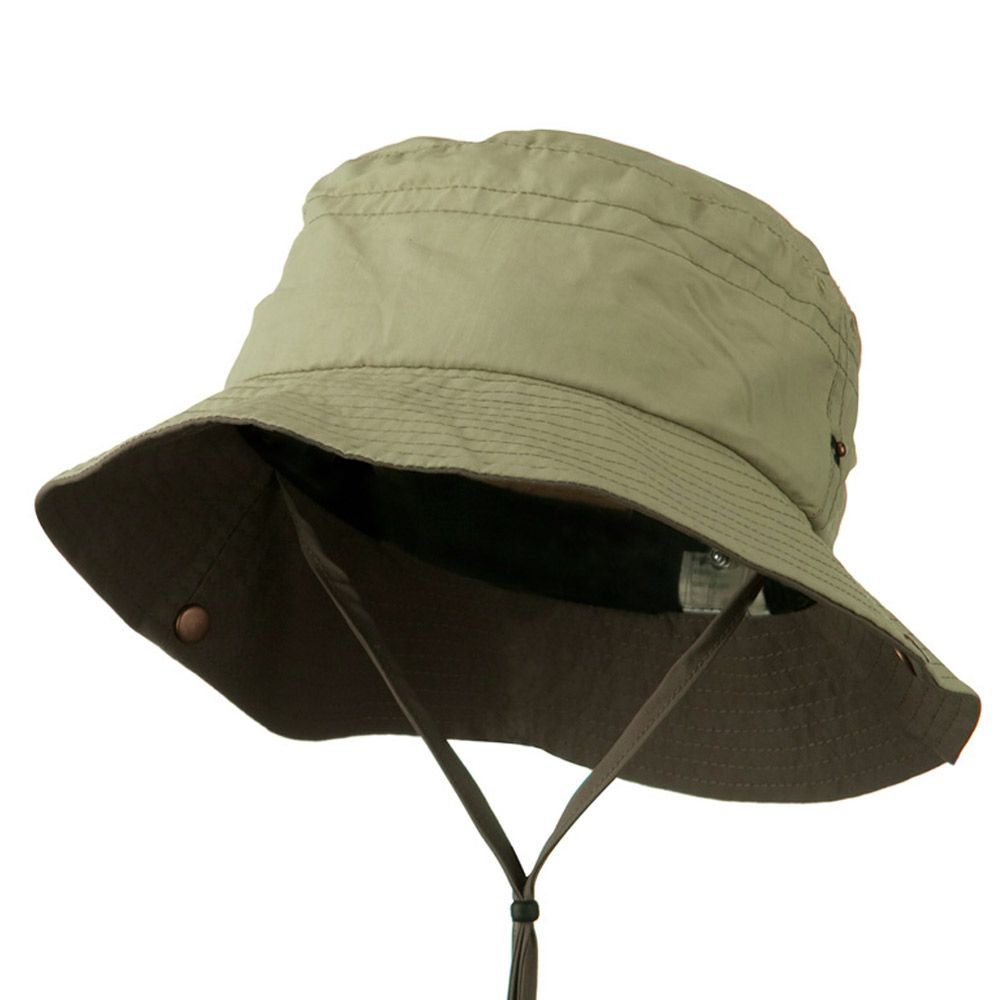 0c82d460ffd0a0 Big Size Talson UV Bucket Hat with Chin Cord - Khaki Brown | hats ...