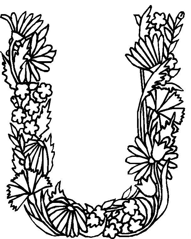 Floral Letters Coloring : Coloring page alphabet flowers kids n fun embroidery: monograms