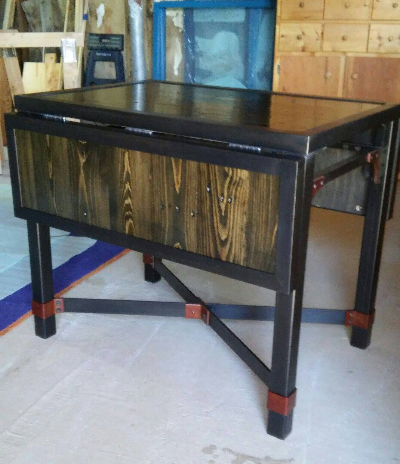 reclaimed wood and metal furniture. Reclaimed Wood Table With Patina Metal. And Metal Furniture