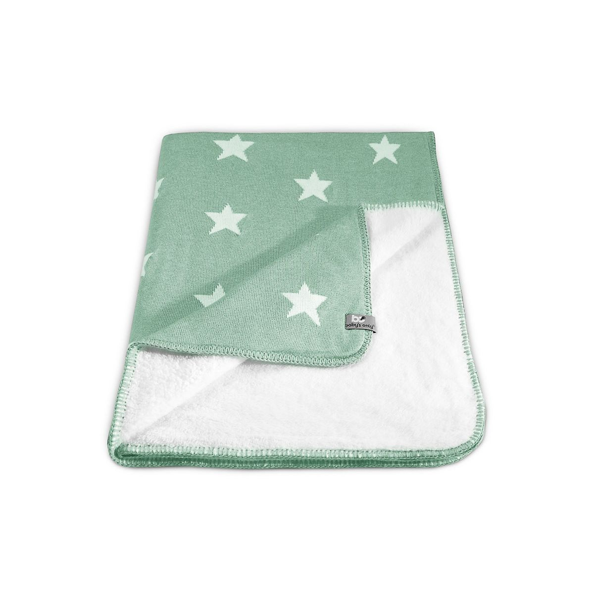 Ledikantdeken teddy Star mint/wit