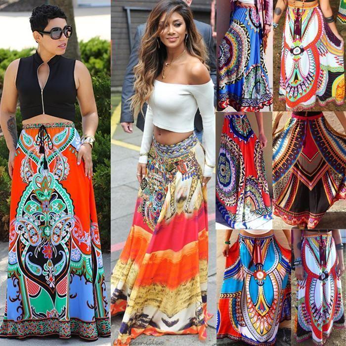 8e11b55e33b9 African Skirt Dashiki Print Women Boho Long Traditional Pleated Beach Maxi  Dress