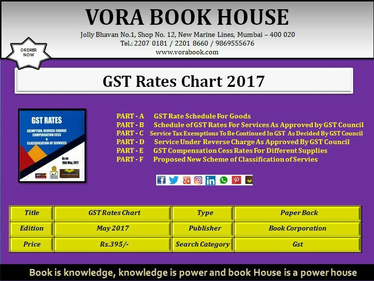 Title - GST Rates chart Publisher -Book Corporation Price - Rs395 - rate chart