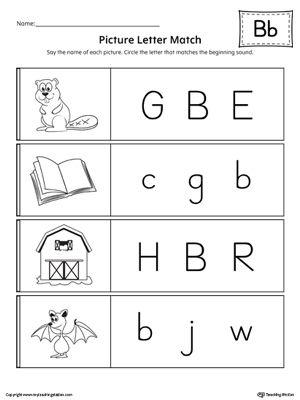 Preschool And Kindergarten Worksheets Myteachingstation Com Letter B Worksheets Picture Letters Letter Matching