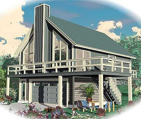 Plan 58546sv drive under vacation escape garage for Beach house plans with garage underneath