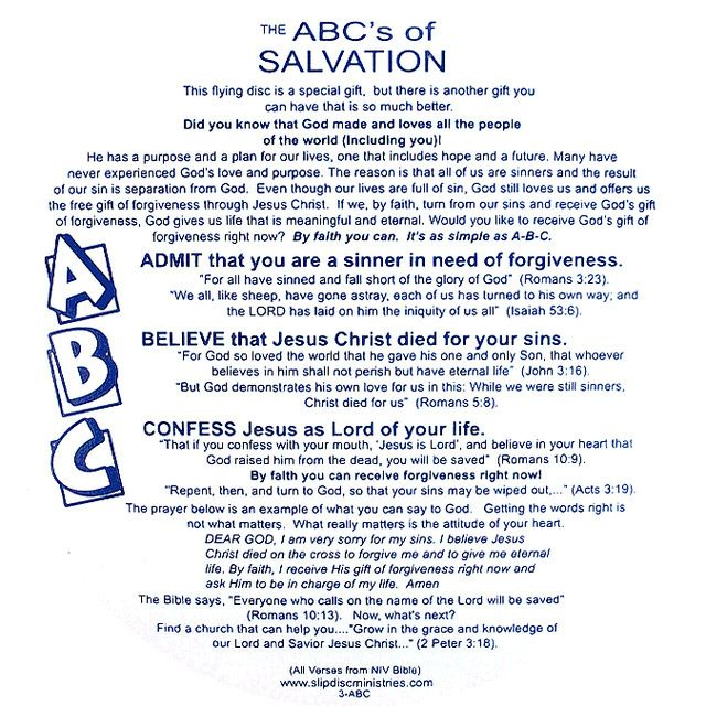ABC's of Salvation Slip Disc | Bible | Abc of salvation ...