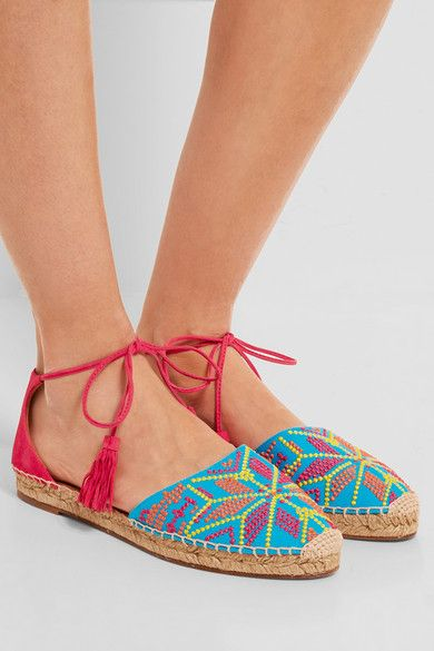 Aquazzura Palm Springs embroidered canvas and suede espadrilles