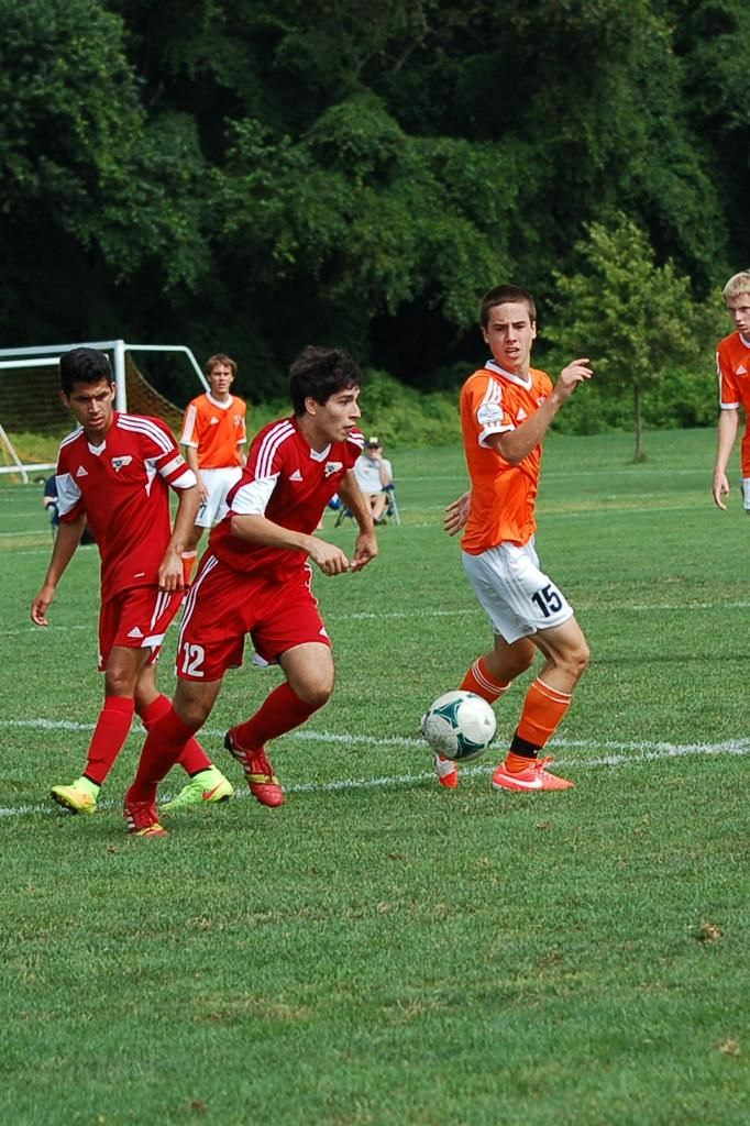 Team America 96 (2014 Kirkwood College Showcase, U19 Gold) vs Hersey 96 Orange Pride (August 2, 2014) -- Anthony Nauls #12, Tristan Munoz #14 (TAFC96 Soccer)