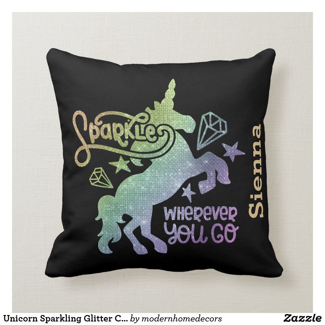 Unicorn Sparkling Glitter CHOOSE background color Throw Pillow