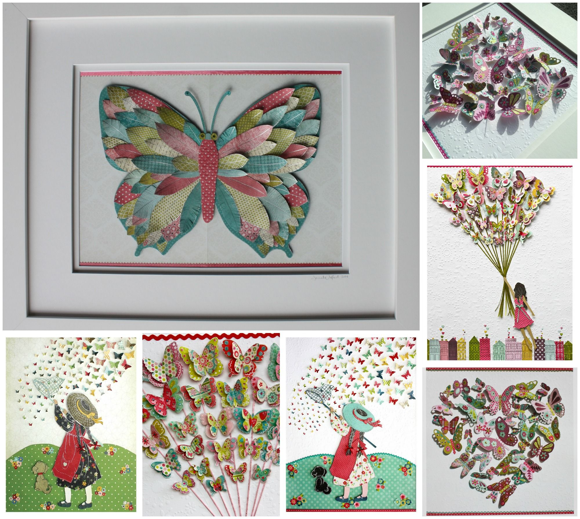 Butterfly Art Original 3D Paper Cut Framed Artwork By Roxyoxy