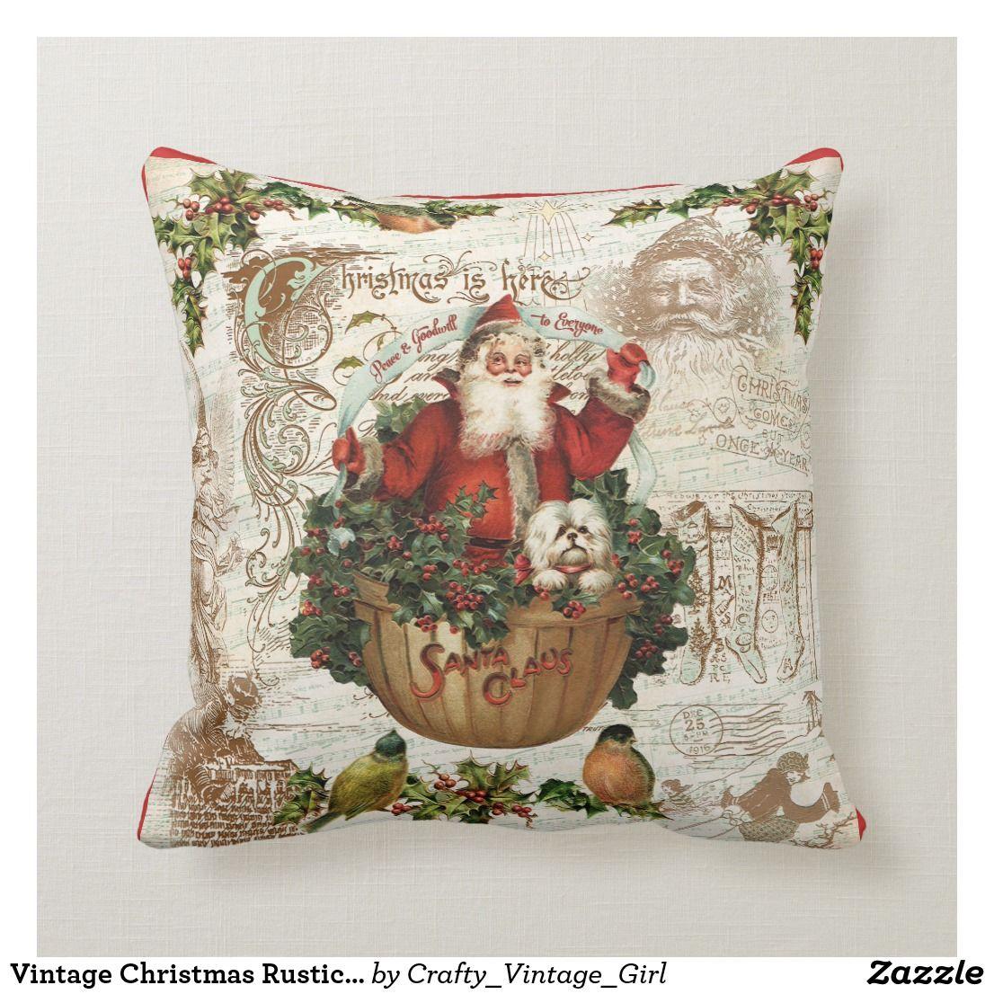 Vintage Christmas Rustic Santa Pillow in 2020