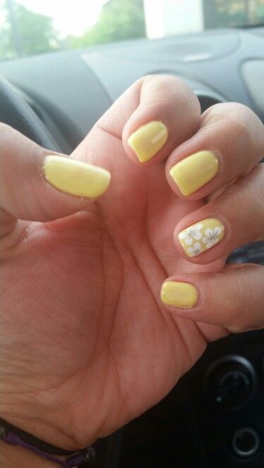Yellow with white flower design