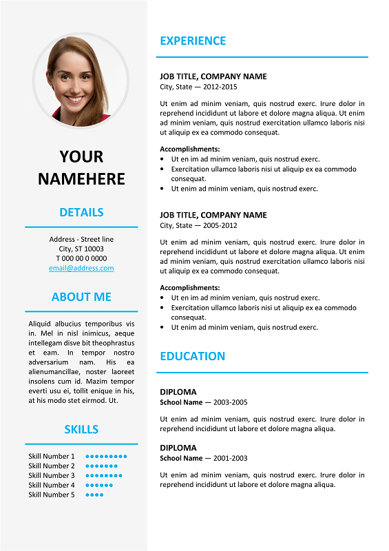 short cv template latex