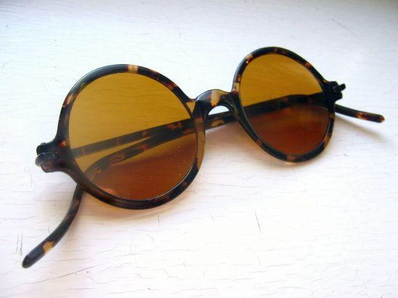 cd96f036586 1930 s Celluloid Sunglasses Tortoise Frame w Amber Glass Lenses Non ...