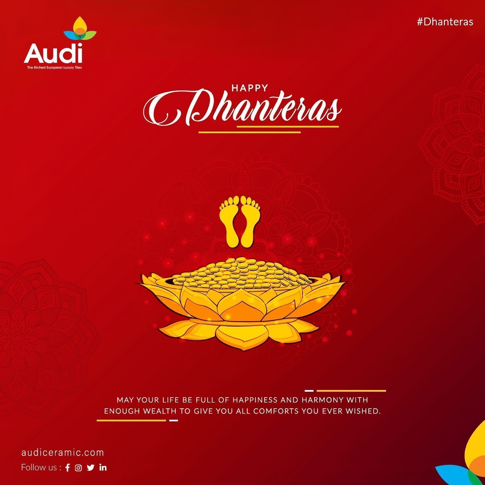 Happy Dhanteras.  May your life be full of happiness and harmony with enough wealth to give you all comforts you ever wished. #dhanteras #happydhanteras #wishing #festival #blesses #audiceramic #homedecor #ceramictiles #walltiles #brand #interior #besttiles #morbi #Exporter #India #tiles #ceramic #InteriorDecor #ceramicaindia #worthtiles #AudiCeramicllp #Tile #Architecture #happydhanteras Happy Dhanteras.  May your life be full of happiness and harmony with enough wealth to give you all comfor #happydhanteras