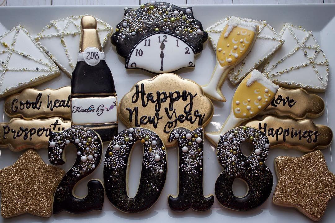 Happy New year New years cookies, Sugar cookie cakes