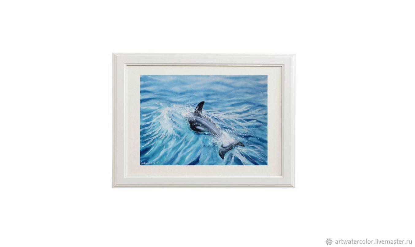 Акварель Дельфин в море – заказать на Ярмарке Мастеров ...
