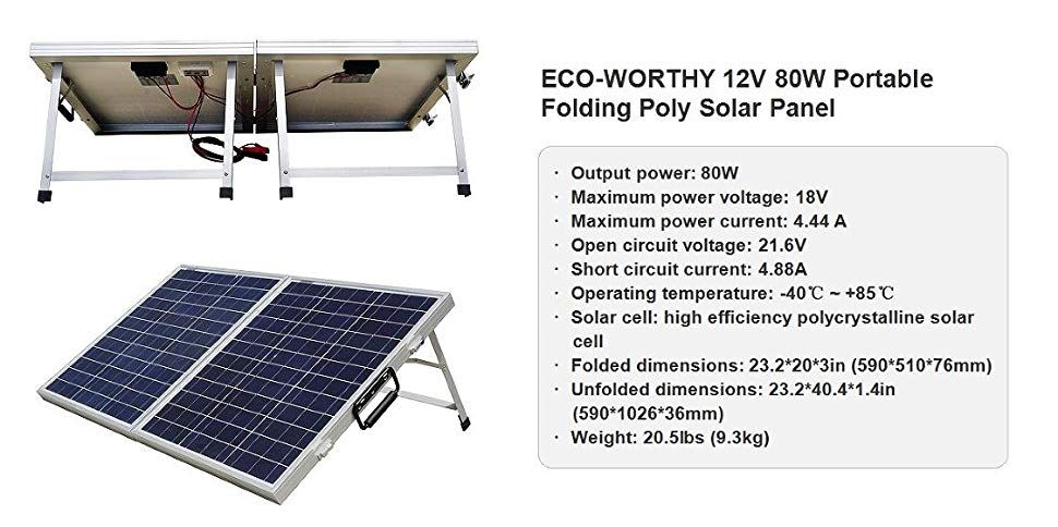Amazon Com Eco Worthy 120 Watts 12volt Portable Folding Polycrystalline Pv Solar Panel Foldable Solar Suitcase Garden O Solar Panels Solar Pv Panel Solar