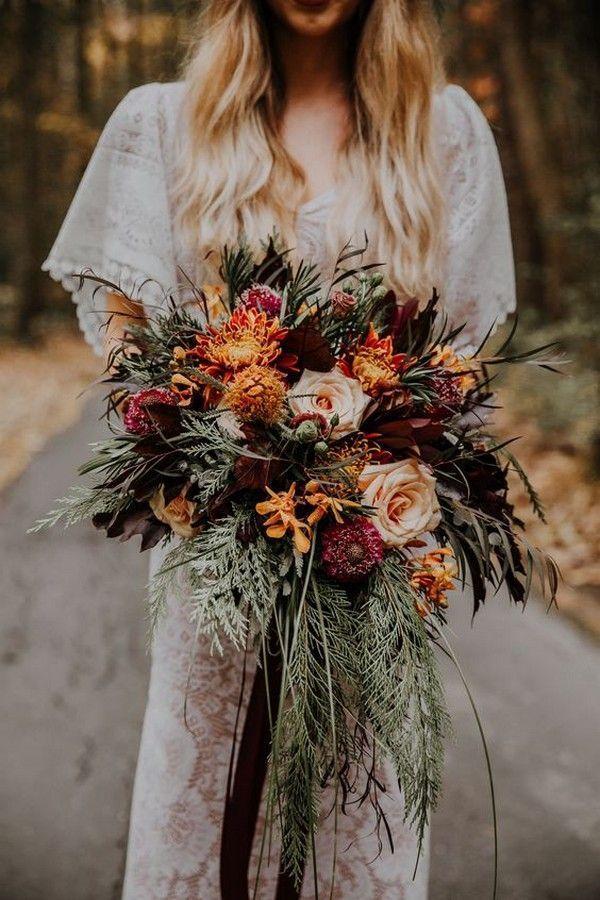 20 atemberaubende Herbsthochzeitsblumen und -blumensträuße für die Herbsthoch... 2020 - hashtags} - #Hochzeitsmotto 2020 #fallbridalbouquets