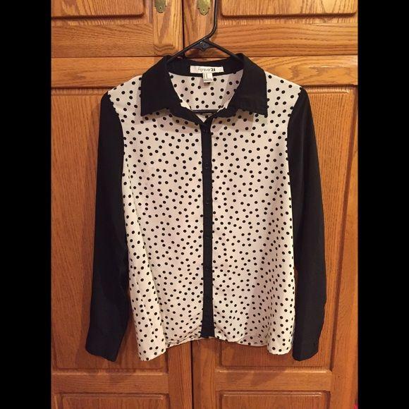 polka dot blouse ⚫️⚪️ WORN ONCE ! Black & white polka dot blouse. Forever 21 Tops Blouses